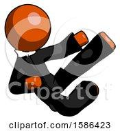 Orange Clergy Man Flying Ninja Kick Right