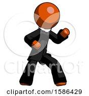Orange Clergy Man Martial Arts Defense Pose Right