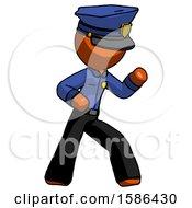 Orange Police Man Martial Arts Defense Pose Right