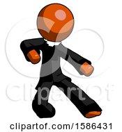 Orange Clergy Man Karate Defense Pose Right