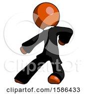 Orange Clergy Man Karate Defense Pose Left