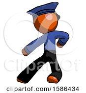 Orange Police Man Karate Defense Pose Left