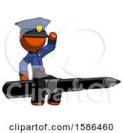 Orange Police Man Riding A Pen Like A Giant Rocket
