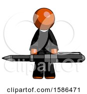 Orange Clergy Man Weightlifting A Giant Pen