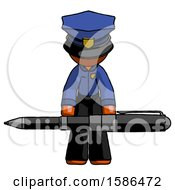 Orange Police Man Weightlifting A Giant Pen
