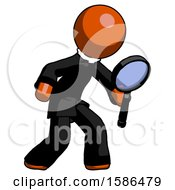 Orange Clergy Man Inspecting With Large Magnifying Glass Right