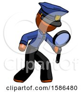 Orange Police Man Inspecting With Large Magnifying Glass Right