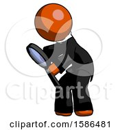 Orange Clergy Man Inspecting With Large Magnifying Glass Left