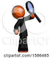 Orange Clergy Man Inspecting With Large Magnifying Glass Facing Up