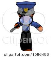 Orange Police Man Looking Down Through Magnifying Glass