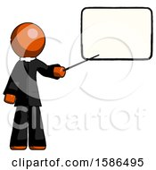 Orange Clergy Man Giving Presentation In Front Of Dry Erase Board