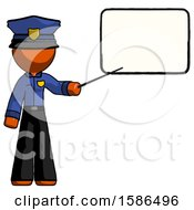 Orange Police Man Giving Presentation In Front Of Dry Erase Board