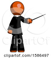 Orange Clergy Man Teacher Or Conductor With Stick Or Baton Directing