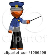 Orange Police Man Teacher Or Conductor With Stick Or Baton Directing