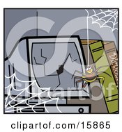Happy Little Spider Hanging Down From A Web In Front Of A Broken Computer Screen Clipart Illustration