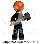 Orange Clergy Man With Sledgehammer Standing Ready To Work Or Defend