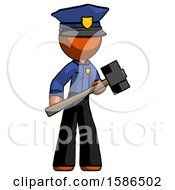 Orange Police Man With Sledgehammer Standing Ready To Work Or Defend