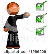 Orange Clergy Man Standing By List Of Checkmarks