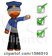 Orange Police Man Standing By List Of Checkmarks