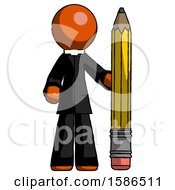 Orange Clergy Man With Large Pencil Standing Ready To Write