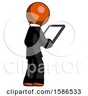 Orange Clergy Man Looking At Tablet Device Computer Facing Away