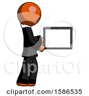 Orange Clergy Man Show Tablet Device Computer To Viewer Blank Area