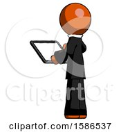 Orange Clergy Man Looking At Tablet Device Computer With Back To Viewer