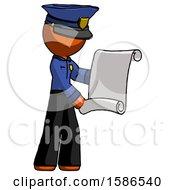 Orange Police Man Holding Blueprints Or Scroll