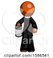 Orange Clergy Man Begger Holding Can Begging Or Asking For Charity