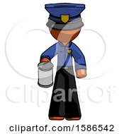 Orange Police Man Begger Holding Can Begging Or Asking For Charity