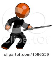 Orange Clergy Man Stabbing With Ninja Sword Katana