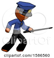 Orange Police Man Stabbing With Ninja Sword Katana