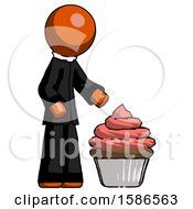 Orange Clergy Man With Giant Cupcake Dessert