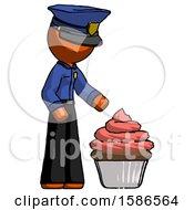 Orange Police Man With Giant Cupcake Dessert