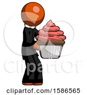 Orange Clergy Man Holding Large Cupcake Ready To Eat Or Serve