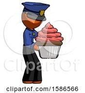 Orange Police Man Holding Large Cupcake Ready To Eat Or Serve