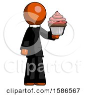 Orange Clergy Man Presenting Pink Cupcake To Viewer