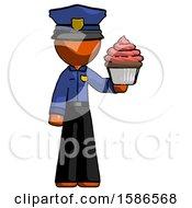 Orange Police Man Presenting Pink Cupcake To Viewer