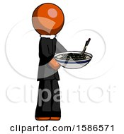 Orange Clergy Man Holding Noodles Offering To Viewer