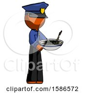 Orange Police Man Holding Noodles Offering To Viewer