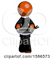 Orange Clergy Man Serving Or Presenting Noodles