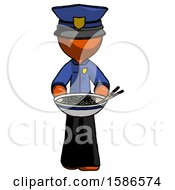 Orange Police Man Serving Or Presenting Noodles