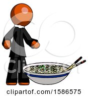 Orange Clergy Man And Noodle Bowl Giant Soup Restaraunt Concept