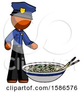 Orange Police Man And Noodle Bowl Giant Soup Restaraunt Concept