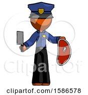 Orange Police Man Holding Large Steak With Butcher Knife