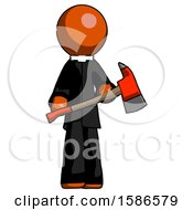 Orange Clergy Man Holding Red Fire Fighters Ax