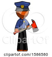 Orange Police Man Holding Red Fire Fighters Ax