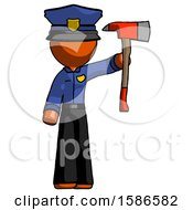 Orange Police Man Holding Up Red Firefighters Ax