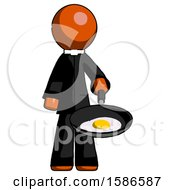 Poster, Art Print Of Orange Clergy Man Frying Egg In Pan Or Wok