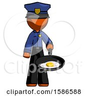 Poster, Art Print Of Orange Police Man Frying Egg In Pan Or Wok